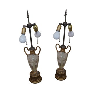 French Empire Cut Crystal Vase Table Lamps