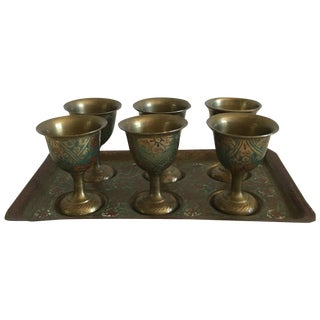 Vintage Brass Cordial Set - Set of 7
