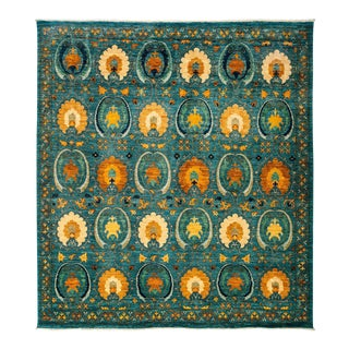 """Suzani, Hand Knotted Square Rug - 8' 2"""" X 8' 10"""""""