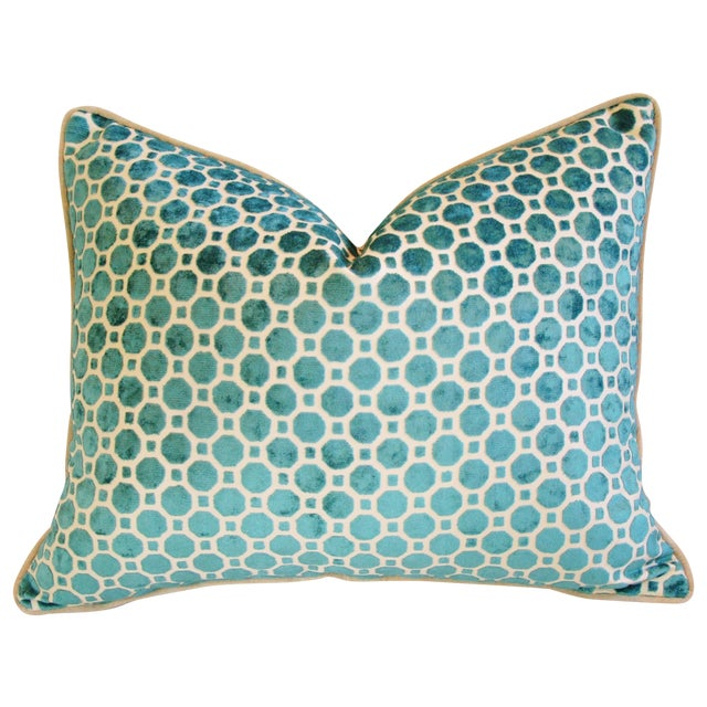 Turquoise Geometric Dot Velvet Feather/Down Pillow - Image 1 of 7