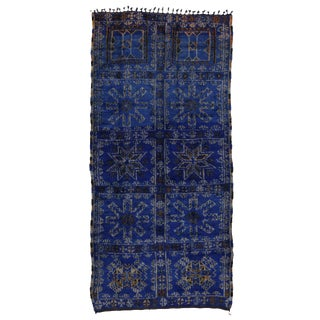 Cobalt Blue Vintage Moroccan Rug by Beni Ouarain - 6'3 x 13'3