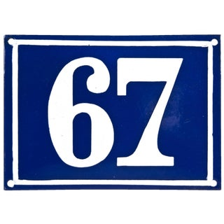 "Vintage French ""67"" Enamel House Number"