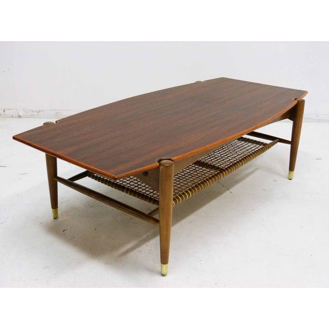 Dux Mid-Century Coffee Table with Cane Shelf - Image 4 of 10