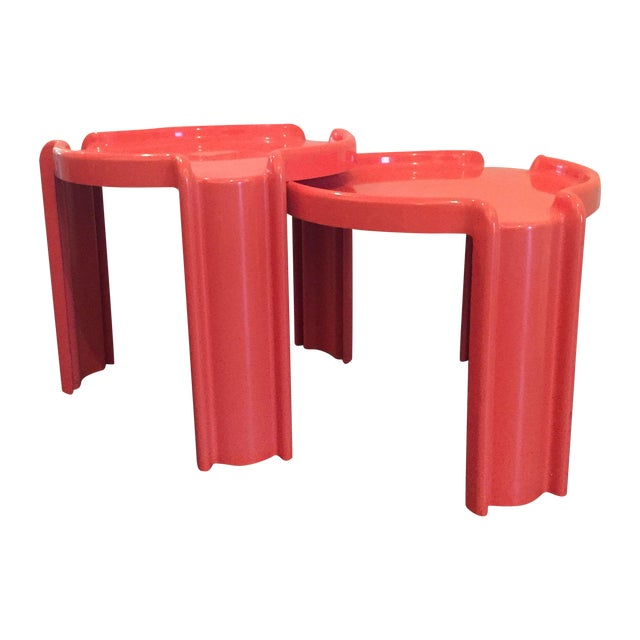 Red Nesting Side Tables - A Pair - Image 1 of 6