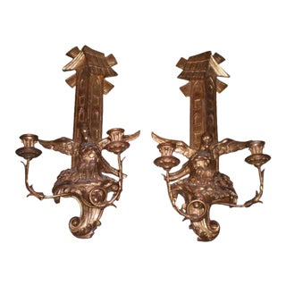 Antique Continental Giltwood Candle Sconces - A Pair