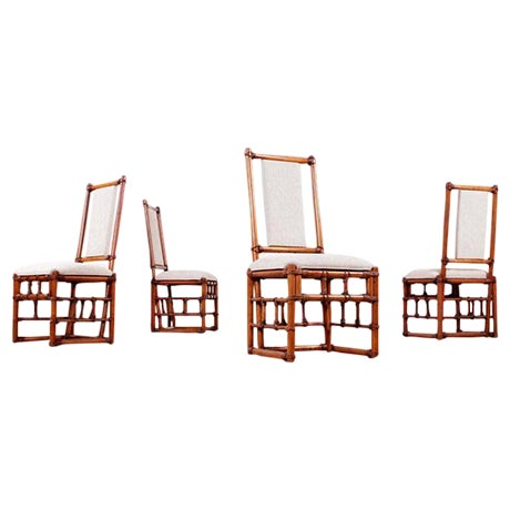 Restored Roped Rattan Dining Chairs - Set of 4 - Image 1 of 5