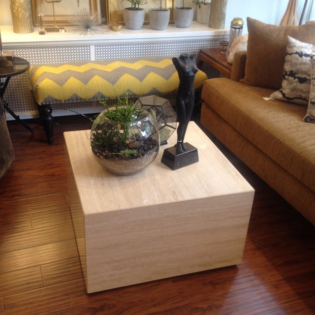 Vintage Travertine Cube Table - Image 3 of 7