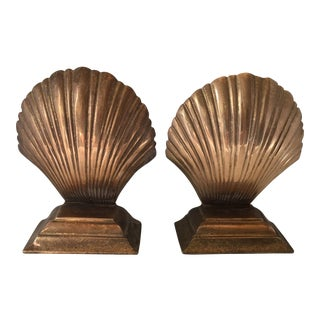 Brass Scallop Bookends - A Pair