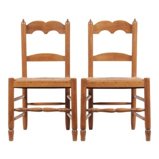 Petite French Rush Chairs - A Pair
