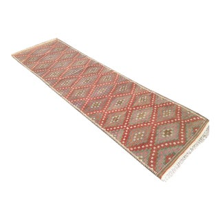 Vintage Turkish Kilim Runner - 3′ × 10′