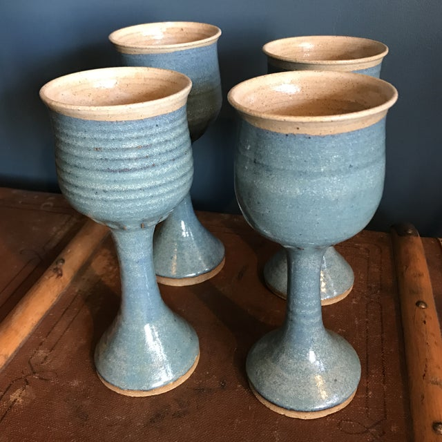 Image of Art Pottery Turquoise Stoneware Goblets- Set of 4