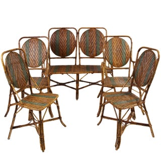 Vintage Bamboo & Rattan Settee & Chairs - Set of 5