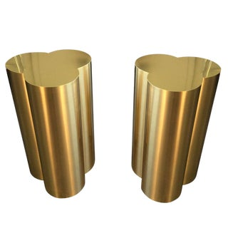 Custom Trefoil Dining Table Pedestal Bases in Polished Brass