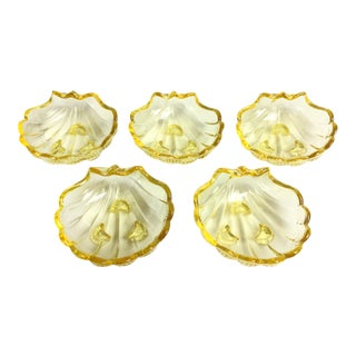 Yellow Crystal Footed Sea Shell Dishes by Cambridge Glass Company - Set of 5