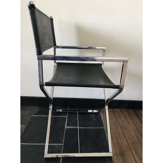 Image of Vintage Mid-Century Modern Black Vinyl & Chrome Director Chair