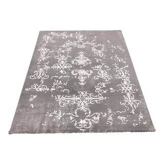 Transitional Gray and White Rug - 5' x 8'