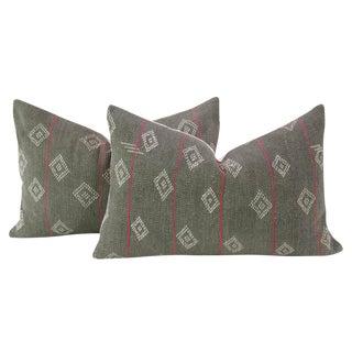 Dark Gray Bengal Kantha Lumbar Pillows - a Pair