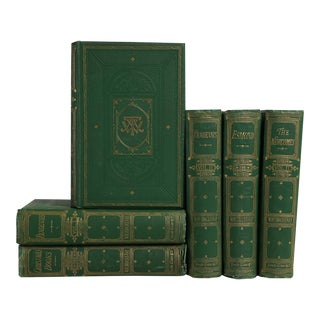 Antique Works of Thackeray In Emerald Green, S/6