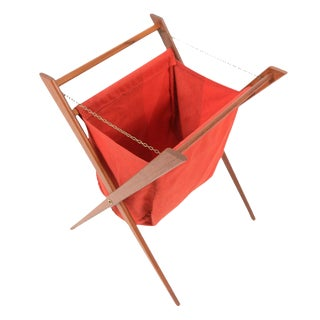 Collapsable Danish Modern Teak Sewing Basket