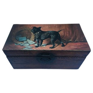Antique Wood Letter Box with Painted Pug