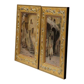 Pair of Mid-20th Century Spanish, Oil Paintings on Board in Carved Gilt Frames