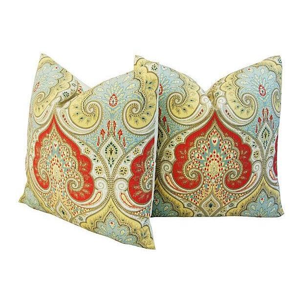 Custom Kravet Latika Festival Linen Pillows - Pair - Image 3 of 7