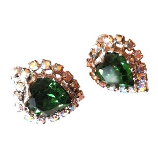 Sparkling Green Heart Shaped Crystal Earrings