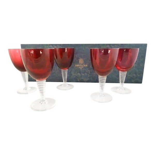 "Saint Louis ""Tsarine"" Claret Glasses - Set of 5 - Image 2 of 3"