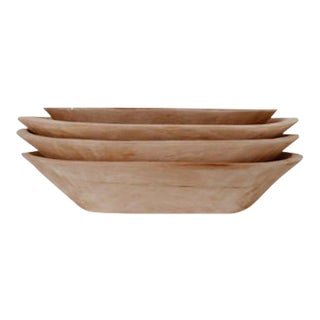Vintage Stackable Wood Bowls - Set of 4