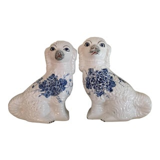 Blue & White Staffordshire Dogs - A Pair