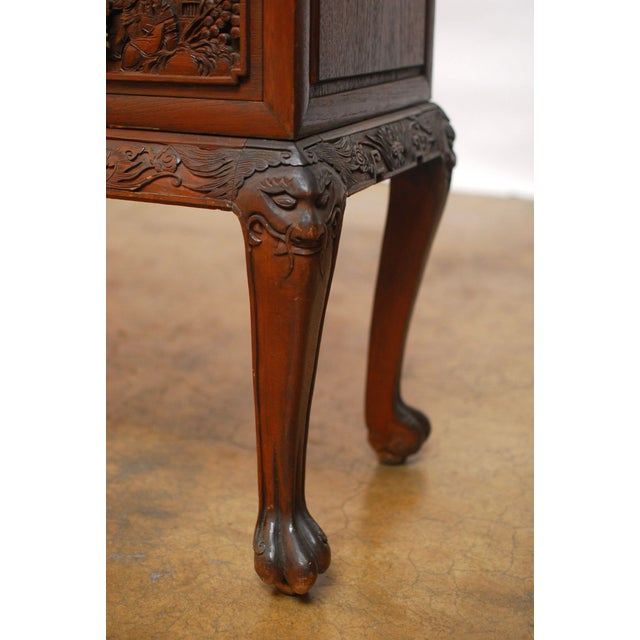 Image of Chinese Highly Carved Bar Cabinet on Stand