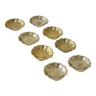 Hollywood Regency Brass Shell Salt Cellars - Set of 8