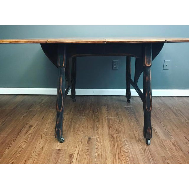 Black Distressed Drop Leaf Dining Table & Chairs - Set of 3 - Image 10 of 11
