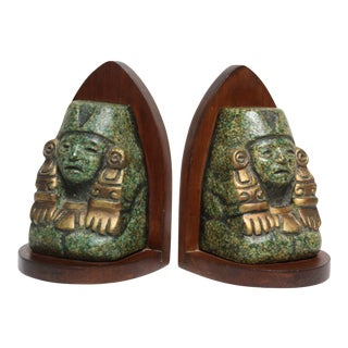 Zarebski Mid-Century Greenstone Mayan Bookends - A Pair