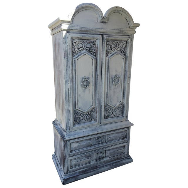 shabby chic white traditional tall armoire chairish. Black Bedroom Furniture Sets. Home Design Ideas