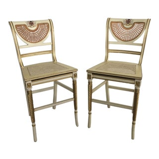 Vintage French Cane Counter Stools - A Pair