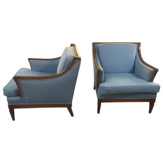 Mid-Century Blue Canvas Chairs - A Pair