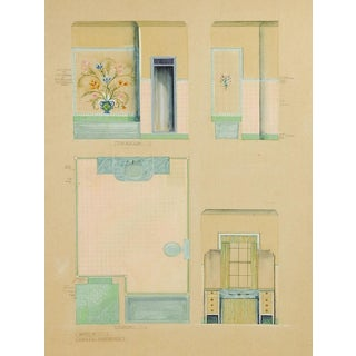 1920s Architect's Rendering for Bathroom