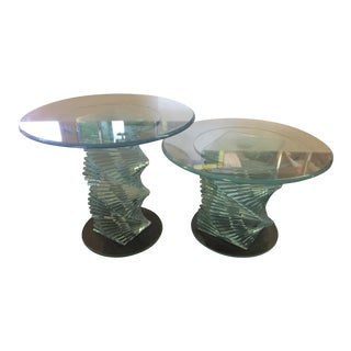 Glass Spiral Side Tables - A Pair