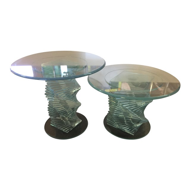 Glass Spiral Side Tables - A Pair - Image 1 of 7