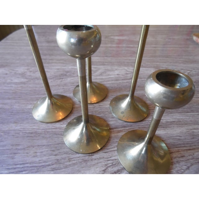 Brass Candlestick Holders- Set of 5 - Image 4 of 4