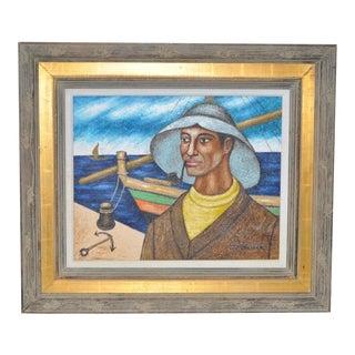 C.1950 Mid-Century Fisherman Oil Painting