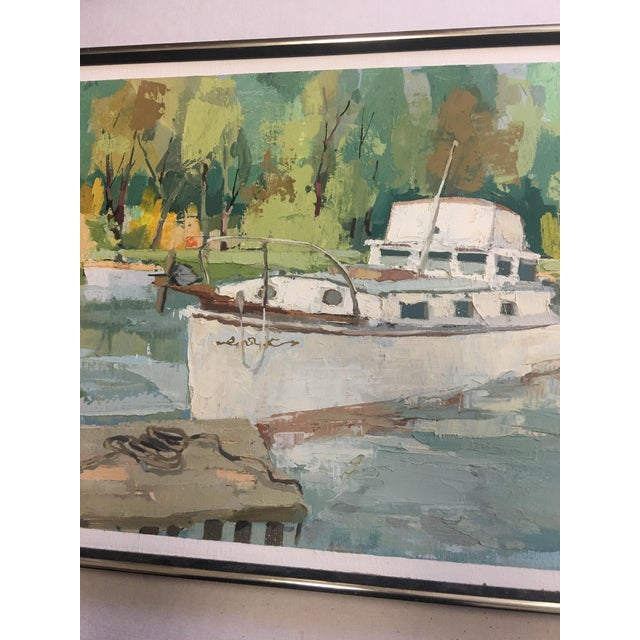 Image of Stefan Lokos Boat At the Marina Painting