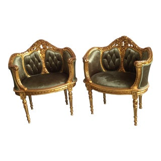 Gilded Wood & Tufted Velvet Chairs- A Pair
