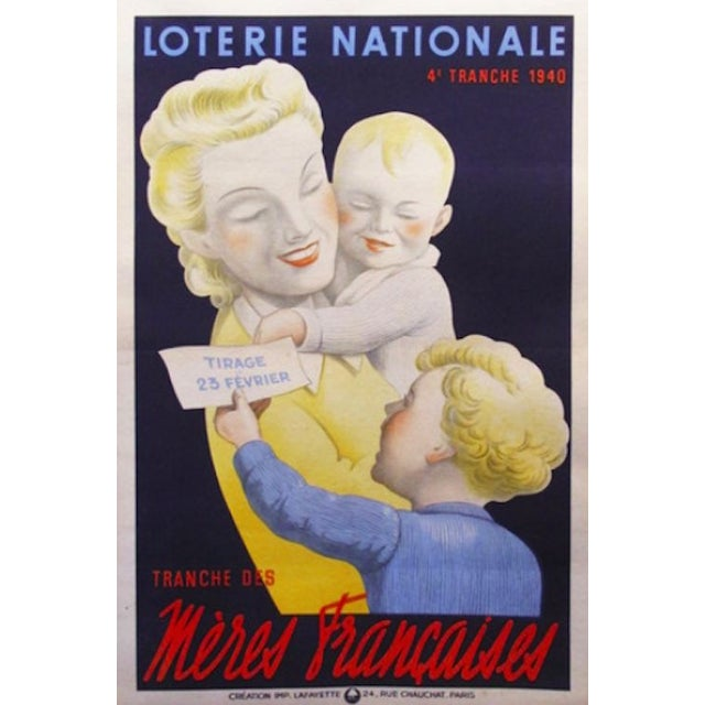 Original 1940s French Lottery Poster Meres - Image 1 of 1