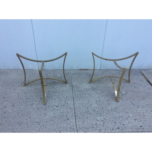 1970's Modern Demi Lune Brass Side Tables - Image 3 of 11