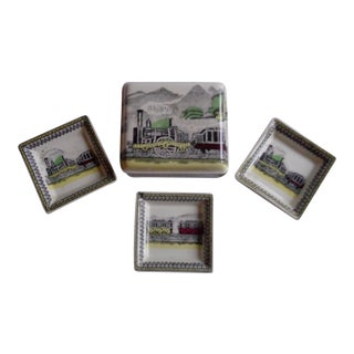 Vintage English Railway Trinket Box & Dishes - Set of 4
