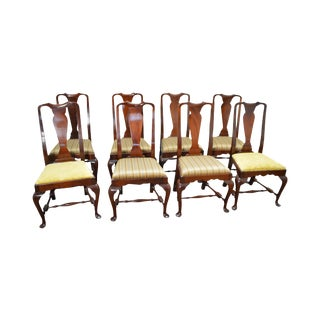 Queen Anne Solid Mahogany Dining Chairs - Set of 8