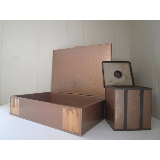 Image of 1940s Copper Enameled Metal on Wood Boxes - A Pair