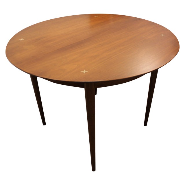 mid century danish modern round dining table chairish. Black Bedroom Furniture Sets. Home Design Ideas